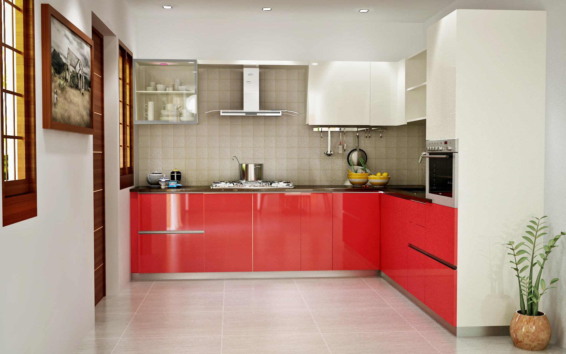 CARDINAL RED FROSTY WHITE MODULAR KITCHEN