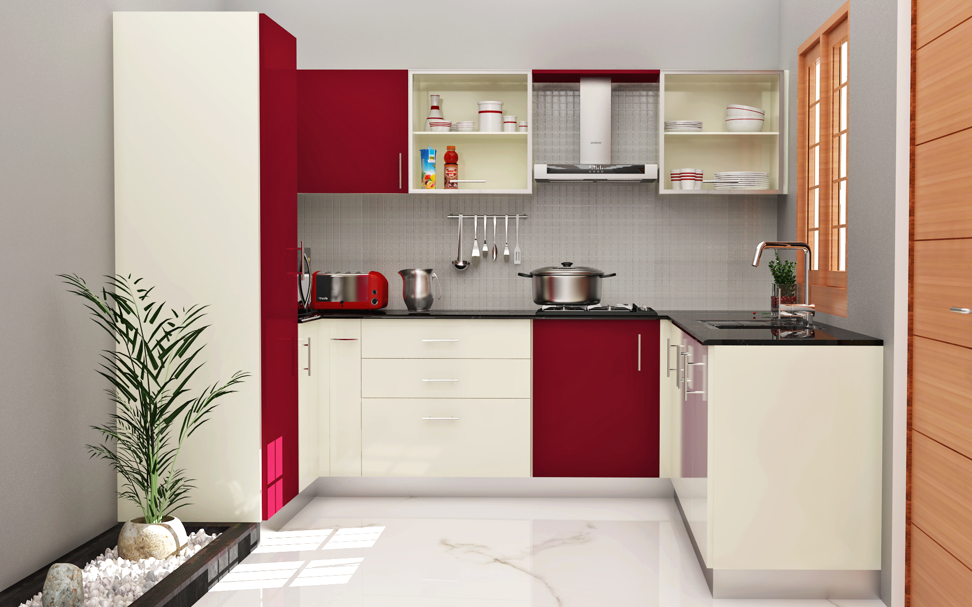 Fiesta rose+frosty white final Modular Kitchen