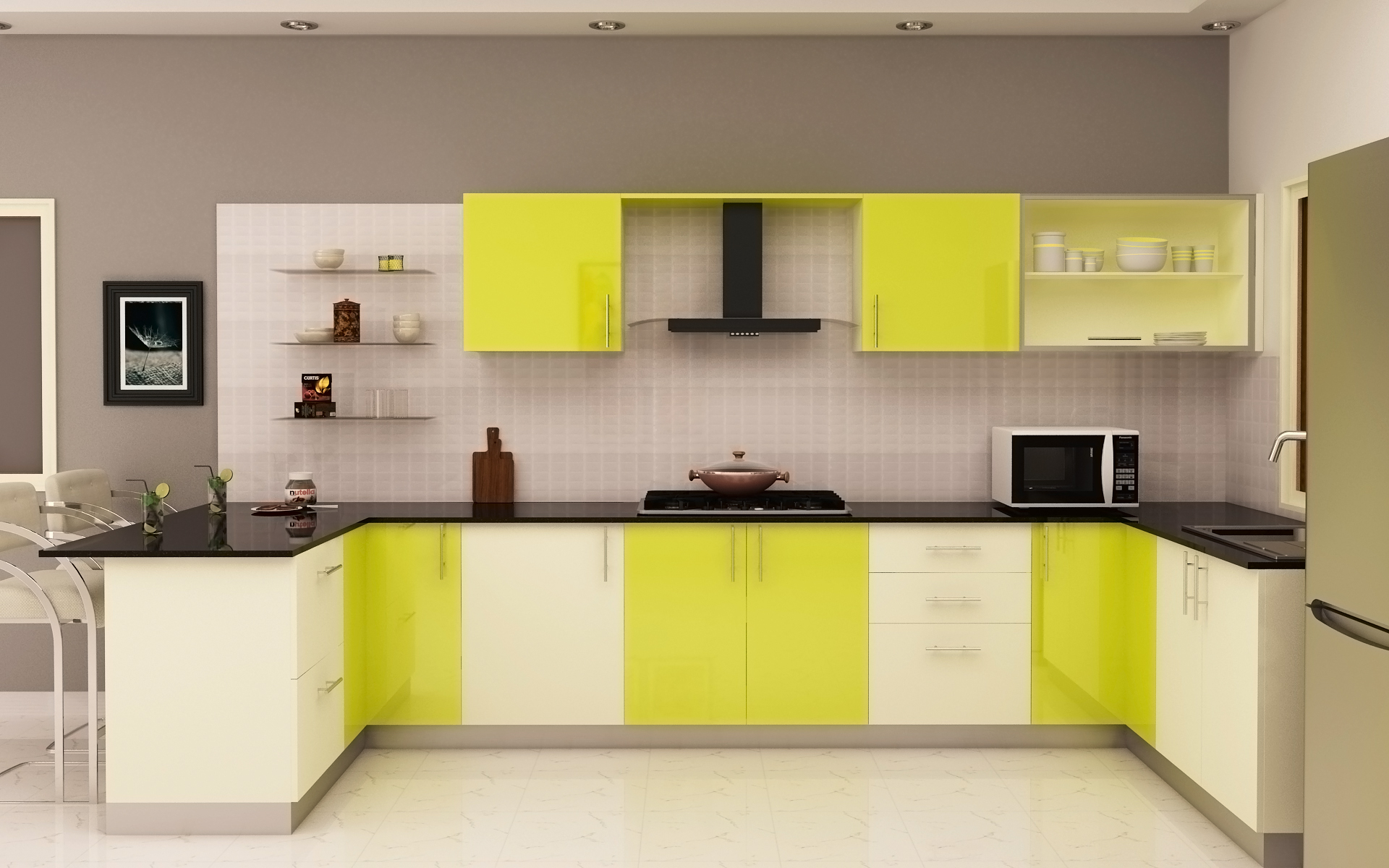 Lime frosty white Modular Kitchen