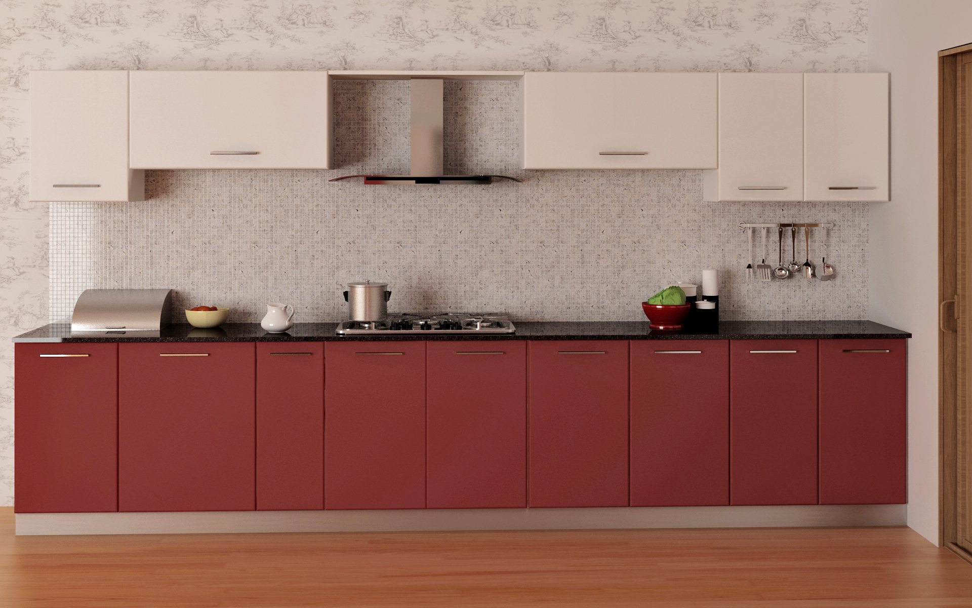 burgandy mat white Modular Kitchen in Bangalore